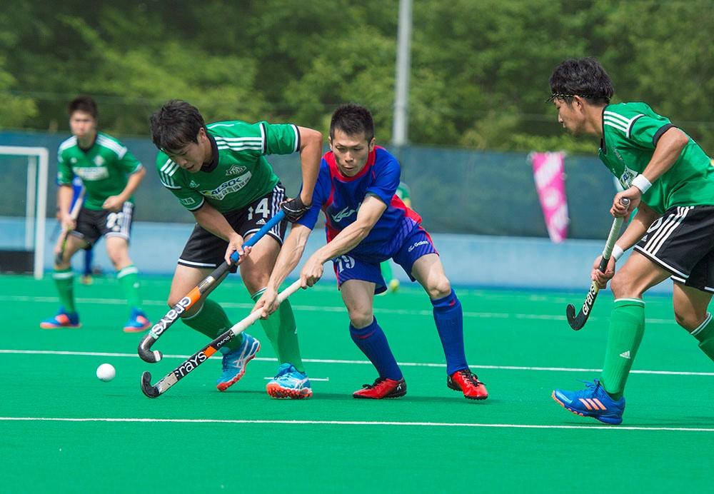 本日3得点を挙げ勝利に貢献した『LIEBE栃木』#14大橋雅貴選手(左、緑ユニ)