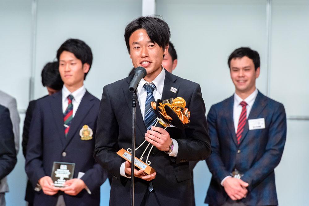男子最優秀選手賞(年間MVP)に輝いた田中世蓮(岐阜朝日クラブ BLUE DEVILS)