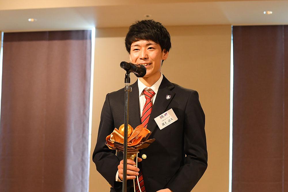 男子最優秀選手賞(年間MVP)に輝いた瀧上諒大(天理大学ベアーズ)